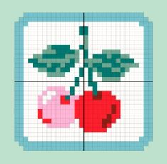 Cherry graph for creating badges or cross stitching...cute website in French though <3 #Cherry #Crossstitch #FreePattern