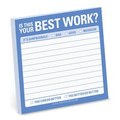 Knock Knock Is This Your Best Work? sticky notes are new Knock Knock stuff. Funny office supplies, stationery, and cool coworker gifts—get the wit!