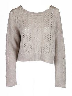 Amazon.com: Fred And Sibel Womens Blush Oversize Wide Cableknit Crop Sweater S: Clothing