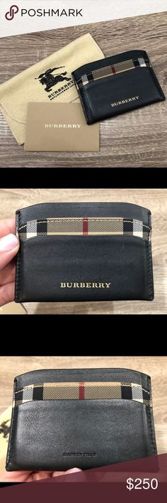 Burberry | Check and Leather Card Case Burberry's chic and slim card case that fits in any purse or clutch. Keep your wallet slim and clutter free with a card case - A definite essential for smaller purses and evening bags. Classic Burberry check lining between two card slots on each side. Middle slot fits folded cash or extra cards. Real leather. Made in Italy. Out of stock online. Comes with original dustbag and product information. IG: sweettouchoflux Burberry Bags Wallets