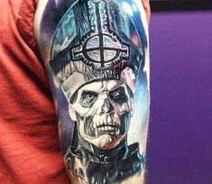 The Band Ghost tattoo by Paul Acker Wicked Tattoos, Great Tattoos, Body Art Tattoos, Sleeve Tattoos, Tattoo Tod, Death Tattoo, Home Tattoo, Paul Acker, Tatto Skull