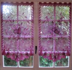 High Quality Aubergine Lace Curtains, Pair French Curtains, Purple Kitchen Curtains,  French Country Decor