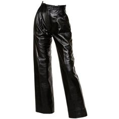 Preowned Yves Saint Laurent Vintage 1980's Black Leather Lambskin... (3,990 MXN) ❤ liked on Polyvore featuring pants, bottoms, black, jeans, trousers, high rise trousers, highwaist pants, leather pants, genuine leather pants and high-waisted leather pants