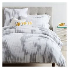West Elm Haze Ikat Duvet Cover, Euro Sham, Platinum/White ($69) ❤ liked on Polyvore featuring home, bed & bath, bedding, duvet covers, white euro pillow shams, white european shams, west elm duvet, white bedding and white duvet