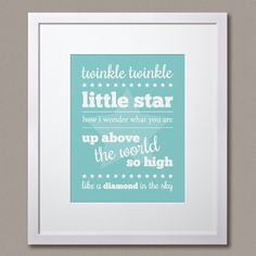 """Choose a colour! Choose a style! """"Twinkle Twinkle Little Star"""" print by Simple Sugar Design Diamonds In The Sky, Simple Sugar, Twinkle Twinkle Little Star, Star Print, Chalkboard Quotes, Colour, Make It Yourself, Stars, How To Make"""