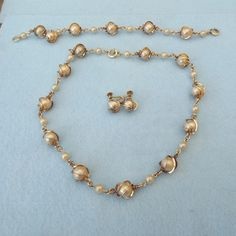 14k Gold Filled 1940s Set Caged Pearls Necklace Bracelet and Earrings!