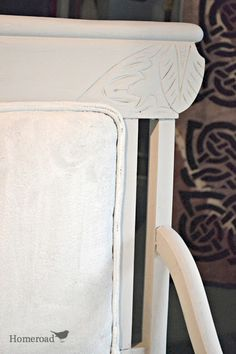 Chalk Painted fabric... It really works well! http://www.homeroad.net/2013/08/chalk-paint-on-fabric-chair.html