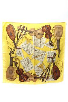 da641514e466 Trussardi Yellow Silk Square Musical Printed Scarf  Trussardi  Scarf