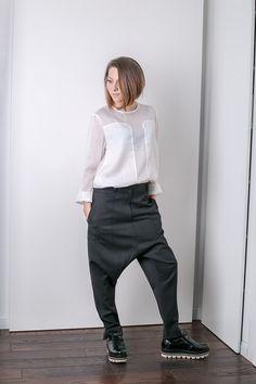 Low rise cotton loose pants,Parachute pants,Yoga Pants,Balloon Pants, Designer Trousers,Grey Minimalist Pant,Conceptstyle,02C15-00115 by ConceptStyle on Etsy