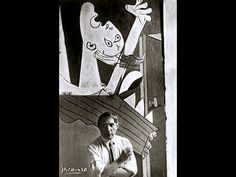 This photograph is of the Spanish painter, Picasso in front of his painting Guernica at its unveiling of the Spanish International World Fair in Paris. (Six weeks after the aerial bombing of the Basque village of Guernica.) Photograph by David Seymour Pablo Picasso, Picasso Guernica, Art Picasso, Picasso Paintings, Oil Paintings, Cubist Movement, Foto Poster, Spanish Painters, Robert Capa