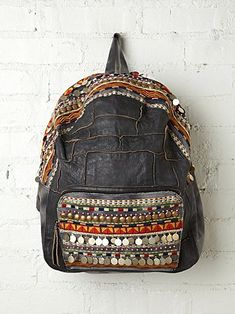Alameda Embellished Backpack - love the grey leather, the embroidery, the sewn-together pieces