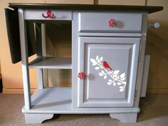 Portable kitchen island with drop leaf photo - 2