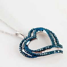 White and blue #diamond silver #heart pendant and chain
