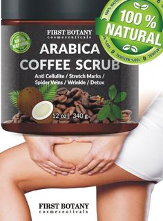 100% Natural Arabica Coffee Scrub 12 oz. with Organic Coffee Coconut and Shea Butter - Best Acne, Anti Cellulite and Stretch Mark treatment, Spider Vein Therapy for Varicose Veins