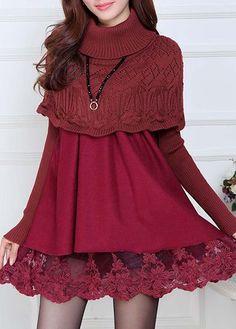 Wine Red Cloak Design Lace Panel Dress on sale only US$28.74 now, buy cheap Wine Red Cloak Design Lace Panel Dress at lulugal.com