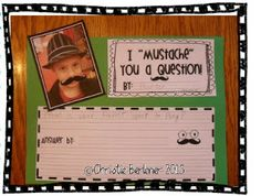 """First Grade Fever website. lots of cute ideas like making an """"about me"""" picture and learn about adjectives to describe themselves and """"mustache"""" you a question to learn about question marks. 1st Grade Writing, Work On Writing, Sentence Writing, Kindergarten Writing, Teaching Writing, Writing Activities, Writing Ideas, Teaching Ideas, Narrative Writing"""