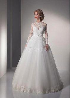 Robe de mariée avec manche sexy mode de bal décoration dentelle - photo 2