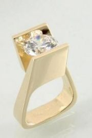 14kt yellow gold design with a 9mm Cubic Zirconia