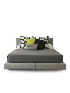 Nyla California King Bed by Vioski on Gilt Home  Handcrafted upholstered piece featuring reinforced hardwood frame and ultra-high resiliency foam  Soft frame and padded platform  Hallingdal fabric, from the Kvadrat collection by Maharam  Manufactured in Los Angeles, California  Measures 77 inches in width by 99 inches in length by 33 inches in height