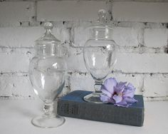 Vintage Apothecary Jars Set of Two Shabby by LittleKittenVintage, $28.00