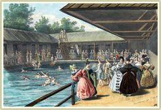 "Die ""Ferdinand-Marien-Donau-Schwimm- und Badeanstalt am Tabor nächst dem k. k. Augarten"" Ferdinand, Painting, Swimming, Art Nouveau, School, House, Painting Art, Paintings, Painted Canvas"