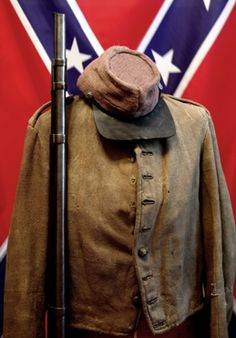 Richmond Depot Type I enlisted soldier's jacket. which belonged to Private Francis M. Freeman.  At the Cannonballhouse Museum, Macon GA