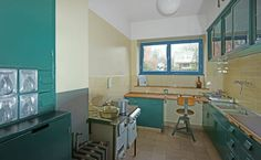 Margarete Schütte-Lihotzky's ground breaking fitted kitchen for Ernst May's terraced housing developments in the Siedlung Römerstadt neighborhood of Frankfurt