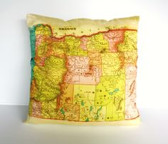 vintage map OREGON  cushion, organic cotton, 16 inch, pillow, cushion cover. $55.00, via Etsy.