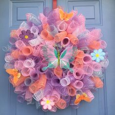 Excited to share the latest addition to my #etsy shop: Spring wreath, Spring front door wreath, Spring Decor wreath,wall decor, wreath,Spring Decoration,Front door wreath spring wreath, Deco mesh #homedecor #easter #doorwreath #springfrontdoor #pink #housewarming #purple #housewares