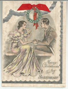 """GORGEOUS VTG 1930s ART DECO CHRISTMAS TO MY SWEETHEART GREETING CARD 6 .75"""" X 9"""""""