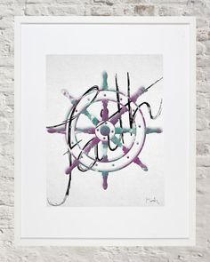 Watercolor watercolour faith ships wheel boat wheel teal purple inspirational quote disney quotes inspire painting art wall decor home decor nursery dorm room office bedroom Etsy listing at https://www.etsy.com/listing/273198452/watercolor-art-ship-wheel-faith-wall-art