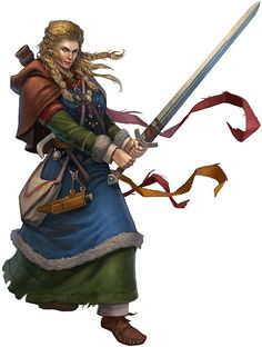 Woman with blond braids wielding a longsword. yes its a fantasy illustration, but she is wearing turn shoes, period tablet woven trim, period  belt mounts etc. Somebody did their homework :)