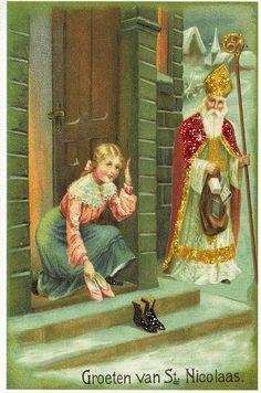 Meisje zet schoenen voor Sinterklaas. I heb wat glitters toegevoegd aan dit mooi kunstwerkje. DF
