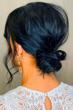 Messy Low Bun ❤ Don't believe that you can get a stunning hair bun for short hair? See how many cool updos you can create! Your short locks are not an obstacle. #hairbunforshorthair #lovehairstyles #hair #hairstyles #haircuts