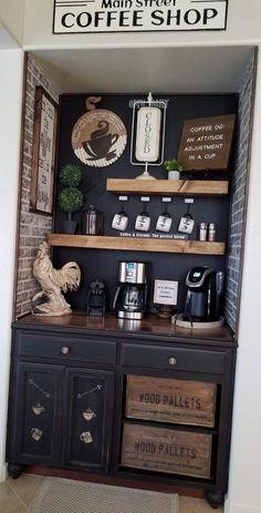 Coffee Bar Design, Coffee Bar Home, Coffee Shop, Coffe Bar, Coffee Talk, Coffee Area, Coffee Center, Apartment Kitchen, Home Decor Kitchen