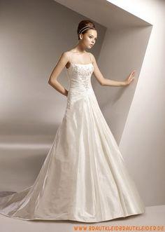 Elegante Brautkleider A-Linie aus Satin mit langer Schleppe online 2013