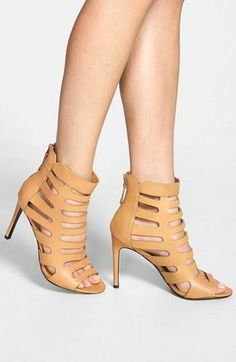 cutout leather sandal