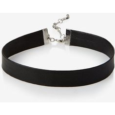 Express Faux Leather Choker Necklace ($20) ❤ liked on Polyvore featuring jewelry, necklaces, black, sexy necklace, sexy choker, vegan necklace, choker jewellery and express necklace
