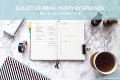 Bullet journal monthly spread - ideas and inspiration