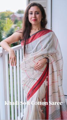 Cotton Sarees Handloom, Khadi Saree, Sari, Bollywood Saree, Bollywood Fashion, Saree Models, Elegant Saree, India Beauty, Indian Wear