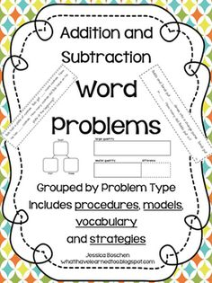 Addition and Subtraction Word Problems Grouped by Problem Type is a year-long resource for problem solving.  Total of 144 problems