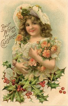"""Today I'm sharing this Vintage Girl with Roses and Holly Postcard! This smiling little girl holds a bunch of peach colored roses. She has on a lacy dress and bonnet with flowers tucked in her curly light brown hair. Below is a bough of beautiful holly leaves and red berries. The card reads, """"Best Wishes...Read More »"""