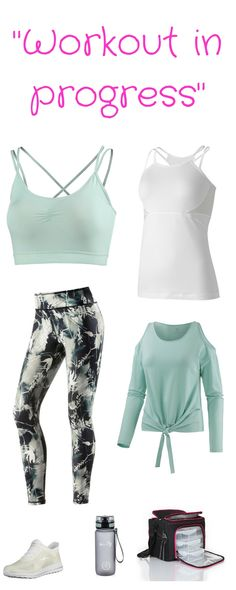 "Fitness-Outfit für Frauen - ""Workout in progress"" - funktionelles Outfit für Fitness, Fitness-Kurse, Yoga, Workout. Mit Offshoulder-Langarm-Shirt, Fitness-Top, Bra, bunter Fitness-Leggings, Sportflasche, Mahlzeiten Tasche bzw. Meal Management Bag, Fitness-Sneaker. Für weitere Details und zum Shop - meine Seite besuchen"