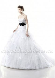 Straight Neckline Ball Gown with Lace Appliques and Black Waistband