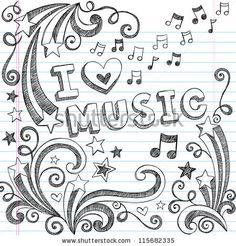 I Love Music Back to School Sketchy Notebook Doodles with Music Notes and Swirls- Hand-Drawn Vector Illustration Design Elements on Lined Sk...