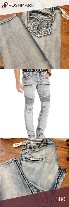 Mens Rocks Mens rock Revival Moto style jeans. Sz 40x33.5 Rock Revival Jeans