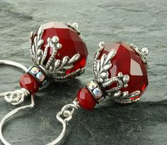 Red Earrings Red Christmas Earrings Christmas Holiday Jewelry Silver Filigree Red Swarovski Crystal Victorian Christmas