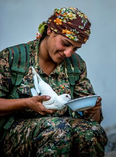 After the Kurdish YPG Forces have liberated the ISIS Stronghold Girê Spî, this Female Fighter found a weakened white dove on the battlefield and takes care of it.