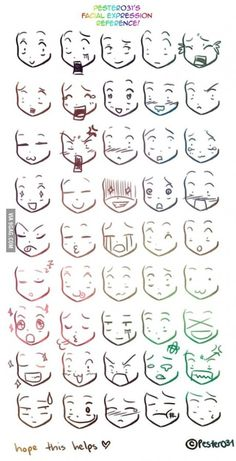 A reference on drawing chibi faces :3