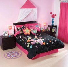 Black Pink Butterfly Comforter Bedding Set Full/Queen 10 Pcs by comforter. $175.90. visit our store for more: http://www.amazon.com/shops/sweethome. Fit for both size full or queen. amazing colors. beautiful butterfly in your room. The set includes 10pcs:  1 Comforter Double Sided               2 Shams  1 Flat Sheet  1 Fitted Sheet                                        2 Pillowcases  1 Bedskirt  2 Decorative Cushions   Machine Washable  Fabric: 50% cotton & 50% polyes...